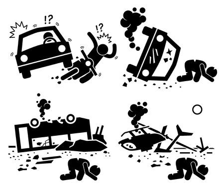 Illustration pour Disaster Accident Tragedy of Car Motorcycle Collision, Bus Crash, and Helicopter Mishap Stick Figure Pictogram Icons - image libre de droit