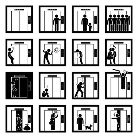 Illustration pour Things that People do inside Elevator Lift Stick Figure Pictogram Icons - image libre de droit