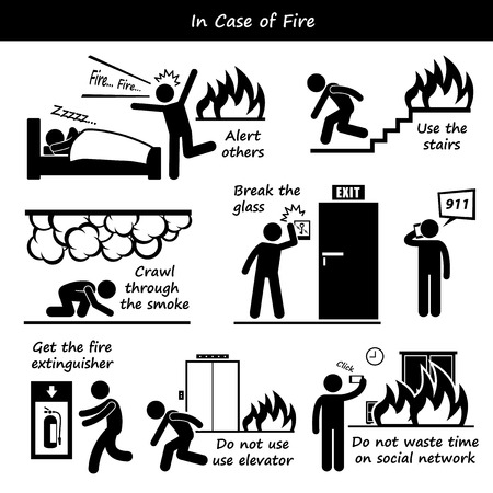Illustration for In Case of Fire Emergency Plan Stick Figure Pictogram Icons - Royalty Free Image
