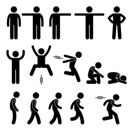 Illustration pour Human Action Poses Postures Stick Figure Pictogram Icons - image libre de droit