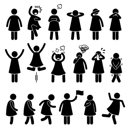 Illustrazione per Human Female Girl Woman Action Poses Postures Stick Figure Pictogram Icons - Immagini Royalty Free