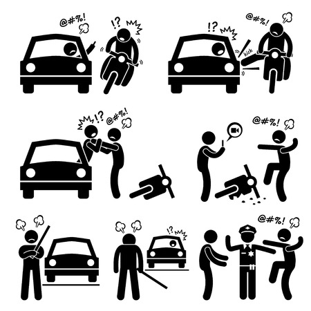 Illustrazione per Road Bully Driver Rage Stick Figure Pictogram Icons - Immagini Royalty Free