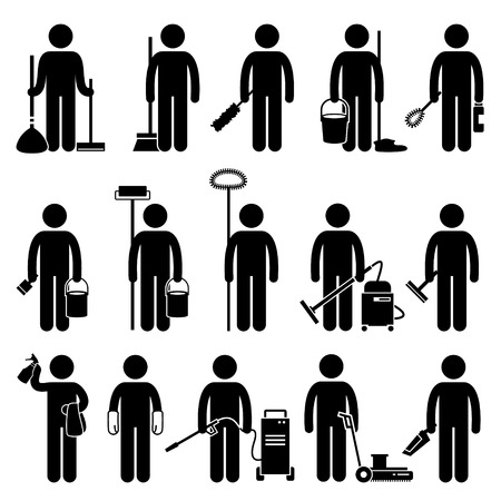 Illustration pour Cleaner Man with Cleaning Tools and Equipments Stick Figure Pictogram Icons - image libre de droit