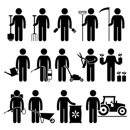 Illustration for Gardener Man Worker using Gardening Tools and Equipments Stick Figure Pictogram Icons - Royalty Free Image