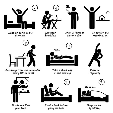 Photo pour Healthy Lifestyles Daily Routine Tips Stick Figure Pictogram Icons - image libre de droit