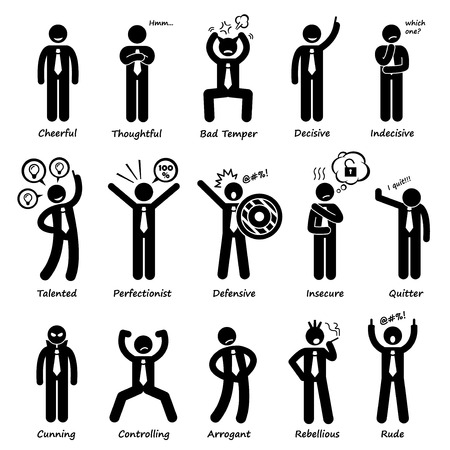 Illustrazione per Businessman Attitude Personalities Characters Stick Figure Pictogram Icons - Immagini Royalty Free