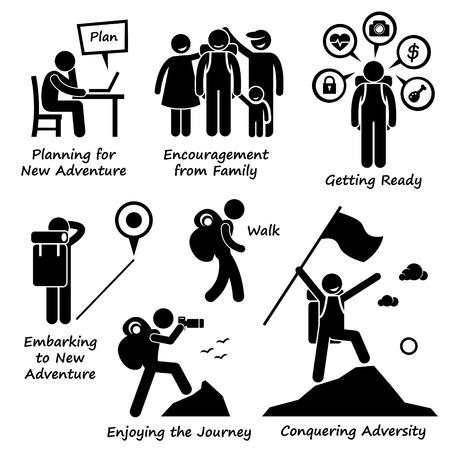 Illustration pour New Adventure and Conquering Adversity Stick Figure Pictogram Icons - image libre de droit