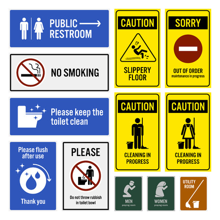 Ilustración de Toilet Notice and Restroom Warning Sign Signboards - Imagen libre de derechos