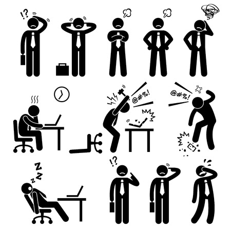 Illustrazione per Businessman Business Man Stress Pressure Workplace Stick Figure Pictogram Icon - Immagini Royalty Free