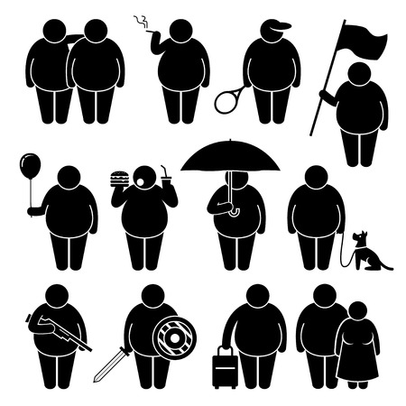 Illustrazione per Fat Man Holding Using Various Objects Stick Figure Pictogram Icons - Immagini Royalty Free