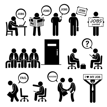 Illustration for Man Looking for Job Employment and Interview Stick Figure Pictogram Icons - Royalty Free Image