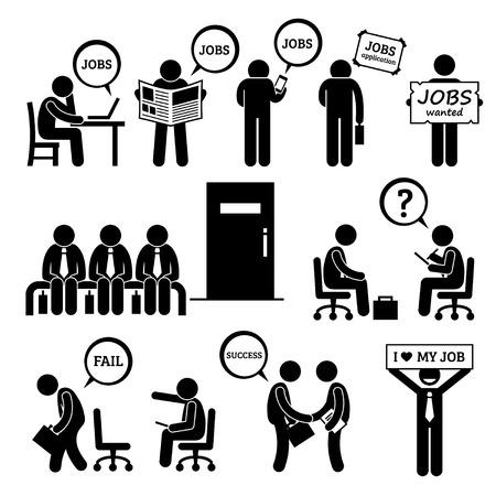 Illustration pour Man Looking for Job Employment and Interview Stick Figure Pictogram Icons - image libre de droit
