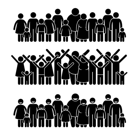 Illustrazione per Group of People Standing Community Stick Figure Pictogram Icons - Immagini Royalty Free