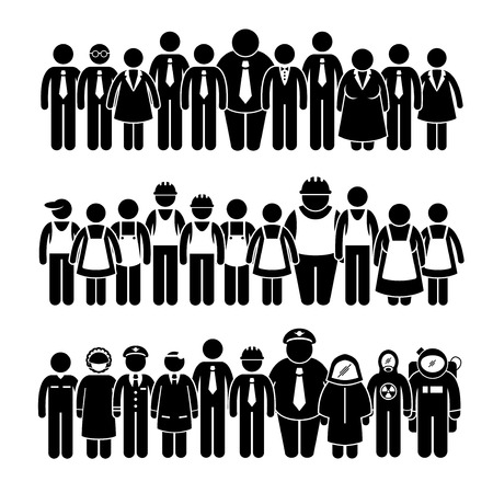 Photo pour Group of People Worker from Different Profession Stick Figure Pictogram Icons - image libre de droit
