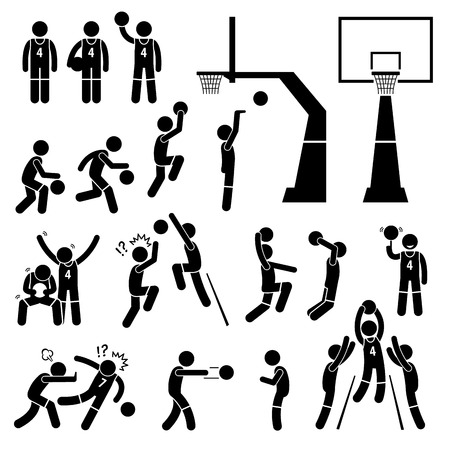 Basketball Payer Action Poses Stick Figure Pictogram Icons
