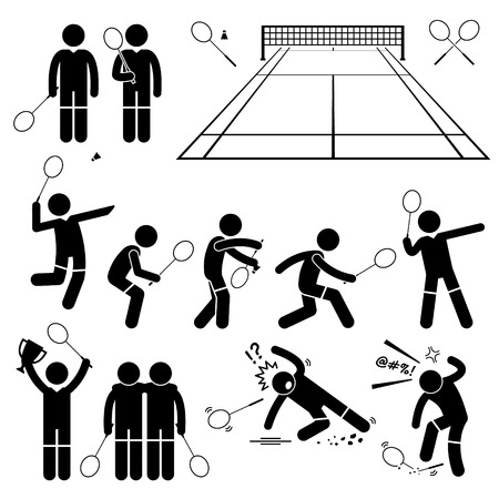 Illustration for Badminton Player Actions Poses Stick Figure Pictogram Icons - Royalty Free Image