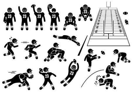 Ilustración de American Football Player Actions Poses Stick Figure Pictogram Icons - Imagen libre de derechos