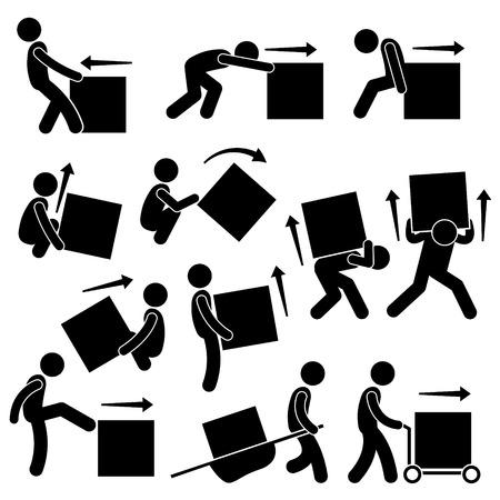 Illustration pour Man Moving Box Actions Postures Stick Figure Pictogram Icons - image libre de droit