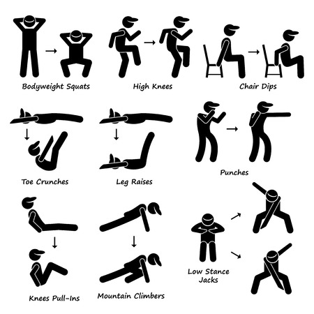 Ilustración de Body Workout Exercise Fitness Training Set 2 Stick Figure Pictogram Icons - Imagen libre de derechos