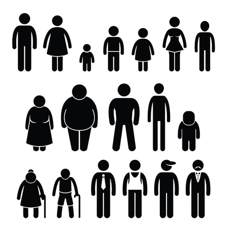 Ilustración de People Character Man Woman Children Age Size Stick Figure Pictogram Icons - Imagen libre de derechos