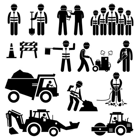 Illustration pour Road Construction Worker Stick Figure Pictogram Icons - image libre de droit