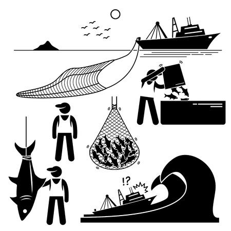 Ilustración de Fisherman working on fishery industry at industrial level on large boat ship. - Imagen libre de derechos