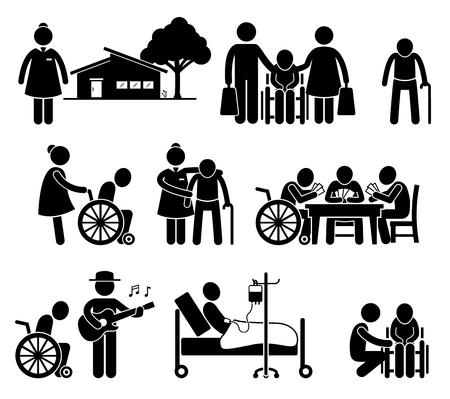 Illustration pour Elderly Care Nursing Old Folks Home Retirement Centre Pictogram - image libre de droit