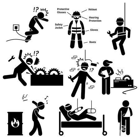 Illustration pour Occupational Safety and Health Worker Accident Hazard Pictogram - image libre de droit