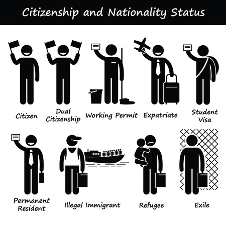 Illustration pour Citizenship and Nationality Pictogram - image libre de droit