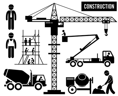 Illustration pour Construction Scaffolding Tower Crane Mixer Truck Sky Lift Heavy Industry Pictogram - image libre de droit