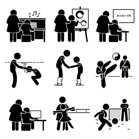Illustration pour Student Learning Music, Art, Academic, Swimming, Martial Arts, Football, Computer, Dancing, and Ice Skating Lesson from Mentor Pictogram - image libre de droit