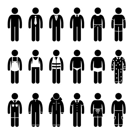 Illustration for Clothes Clothing Attire for Different Occasions, Time, and Activity Pictogram - Royalty Free Image