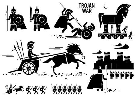 Illustration for Trojan War Horse Greek Rome Warrior Troy Sparta Spartan Stick Figure Pictogram Icons - Royalty Free Image