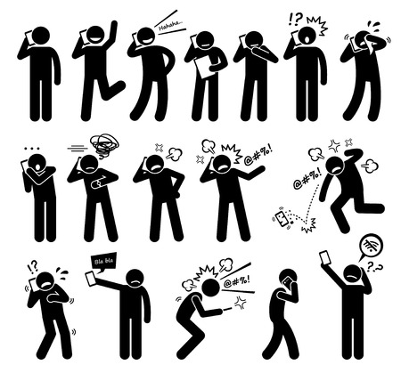 Illustration pour People Expressions Feelings Emotions While Talking on a Cellphone Stick Figure Pictogram Icons - image libre de droit