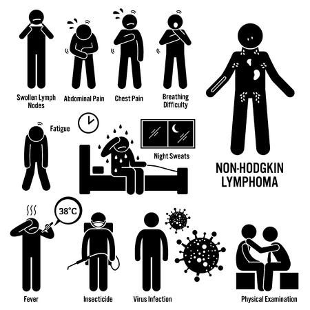 Illustrazione per Non-Hodgkin Lymphoma Lymphatic Cancer Symptoms Causes Risk Factors Diagnosis Stick Figure Pictogram Icons - Immagini Royalty Free