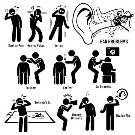 Illustration pour Ear Diagnosis Exam Stick Figure Pictogram Icons - image libre de droit