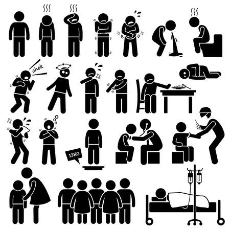 Illustration for Children Sick Sickness Ill Illness Disease Flu Problem Health Stick Figure Pictogram Icons - Royalty Free Image