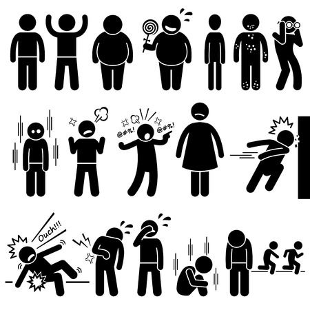 Illustrazione per Children Health Physical and Mental Problem Syndrome Stick Figure Pictogram Icons - Immagini Royalty Free