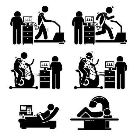 Illustration pour Exercise Stress Test for Heart Disease Stick Figure Pictogram Icons - image libre de droit
