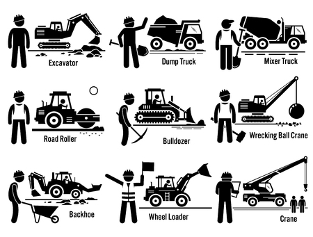 Photo pour Construction Vehicles Transportation and Worker Set - image libre de droit