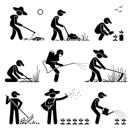 Illustration pour Gardener and Farmer using Gardening Tools and Equipment for Work - image libre de droit