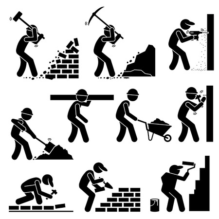Illustration pour Builders Constructors Workers Building Houses with Tools and Equipment at Construction Site - image libre de droit