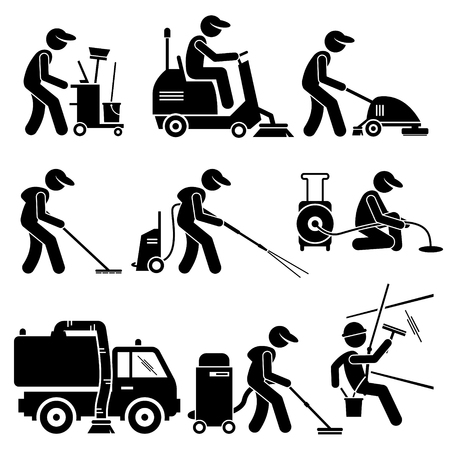 Illustration pour Industrial Cleaning Worker with Tools and Equipment Stick Figure Pictogram Icons - image libre de droit