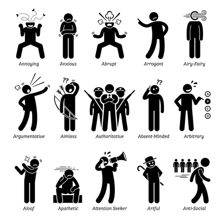 Illustrazione per Negative Bad Personalities Character Traits. Stick Figures Man Icons. Starting with the Alphabet A. - Immagini Royalty Free