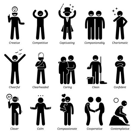 Illustrazione per Positive Personalities Character Traits. Stick Figures Man Icons. Starting with the Alphabet C. - Immagini Royalty Free