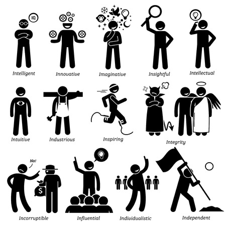 Illustrazione per Positive Personalities Character Traits. Stick Figures Man Icons. Starting with the Alphabet I. - Immagini Royalty Free