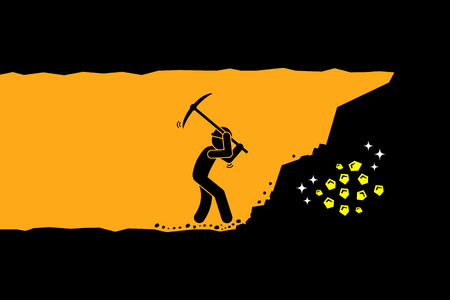 Illustration pour Person worker digging and mining for gold in an underground tunnel. Vector artwork depicts hard work, success, achievement, and discovery. - image libre de droit