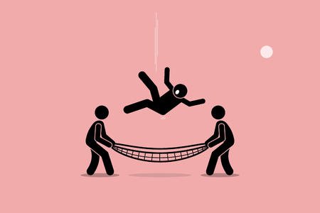 Illustration pour Man falling down and saved by people using safety net at the bottom of the ground. Vector artwork depicts safety, security, insurance, friendship, help, and support. - image libre de droit