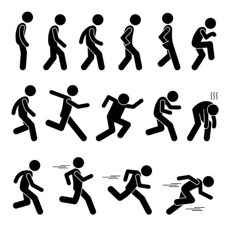 Ilustración de Various Human Man People Walking Running Runner Poses Postures Ways Stick Figure Stickman Pictogram Icons - Imagen libre de derechos
