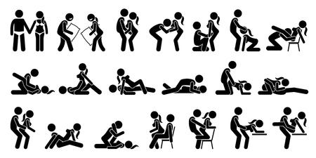 Ilustración de Sexual Positions, Kama Sutra or Kamasutra, and Erotic Foreplay. - Imagen libre de derechos